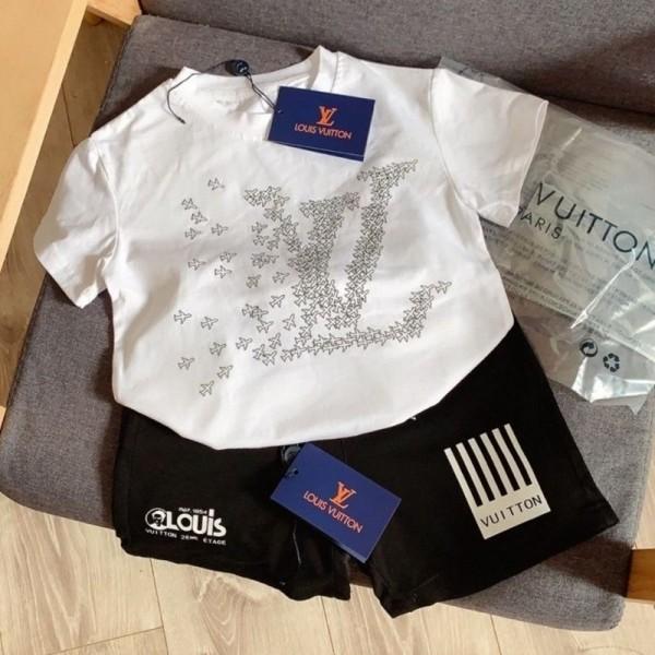 ルイヴィトンシンプル子供服tシャツハーフズボンブランド男の子女の子ゆったりコットン2点セットスーツ2021夏 半袖