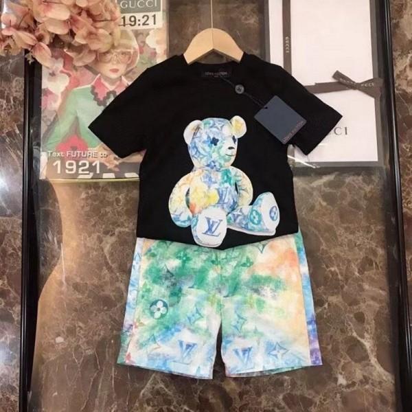 2021夏ルイヴィトン子供服 上下セットブランドコットン半袖tシャツハーフズボンかわいいクマ柄キッズスーツ男女兼用