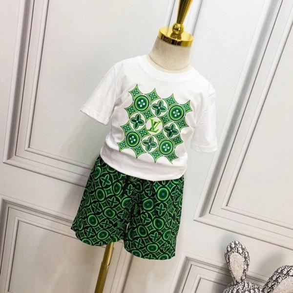 夏ルイヴィトンキッズtシャツブランドコットン快適な子供服ファッション半袖Tシャツハーフズボン子供スーツ男女同型セット