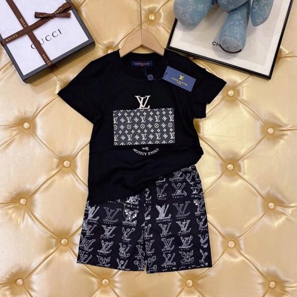 ルイヴィトンブランド子供tシャツズボンスーツ夏 新モデル男女子供ファッション潮流スーツカジュアルコットンジェンダーレス服