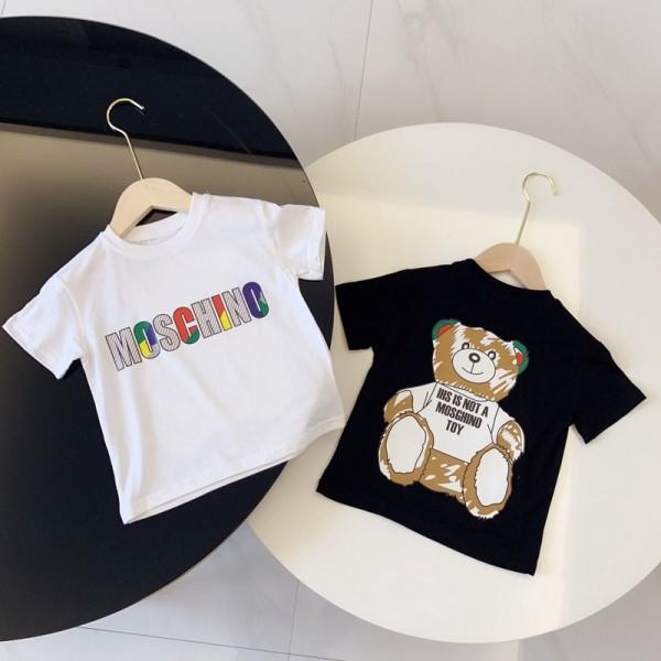 moschinoモスキーノtシャツモス小熊プリント子供服きれい親子服パロディ風ブランドゆったり子供服Tシャツ男女兼用 人気