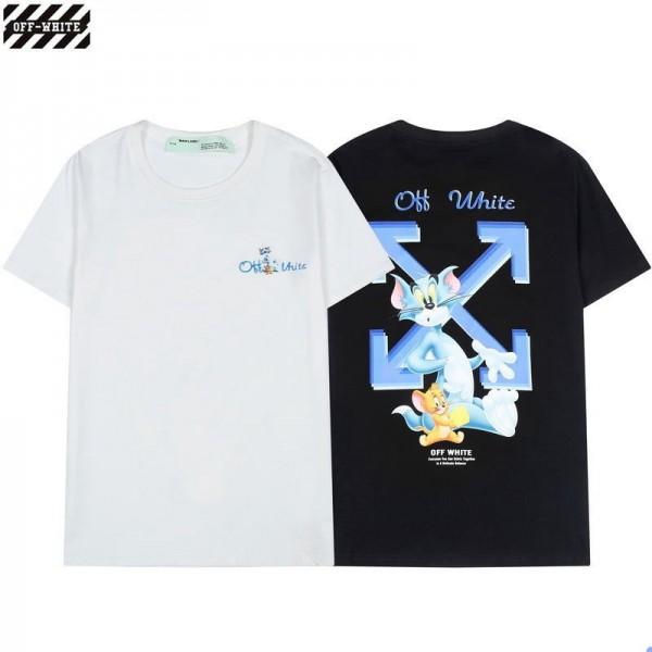 オフ-ホワイトブランドtシャツ春夏薄いコットンTシャツかわいいトムとジェリー矢印プリントtシャツ男女ゆったり半袖Tシャツ