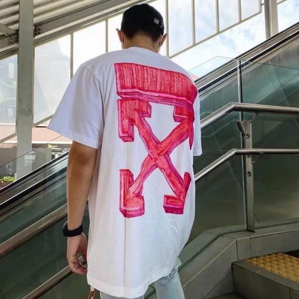 オフ-ホワイト半袖tシャツブランド個性潮流コットンTシャツoffプリント男女兼用トップスおしゃれゆったり丸首tシャツ