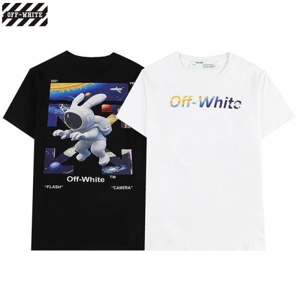 2021新品オフ-ホワイト半袖tシャツブランドカラーoff-whiteロゴプリントTシャツかわいい宇宙漫画tシャツ男女半袖