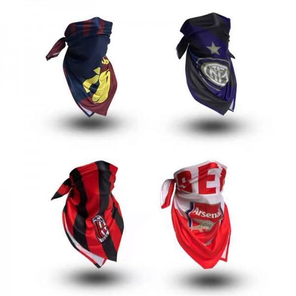 サッカー防塵マスクブランドスポーツフットボールスクエアスカーフ 自転車の屋外の多機能マフラー春夏洗えるマスク