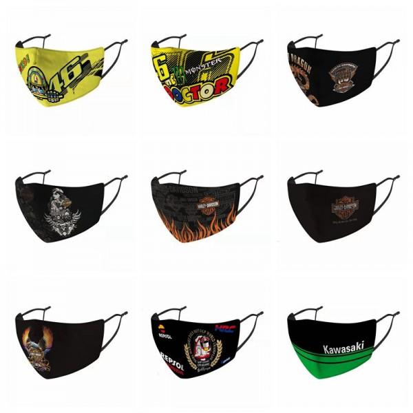 Kawasaki布マスクブランドスポーツ風ハーレースクーターマスクかっこいいメンズモーターバイク川崎ロージー洗えるマスク防塵防風通気性よくmask