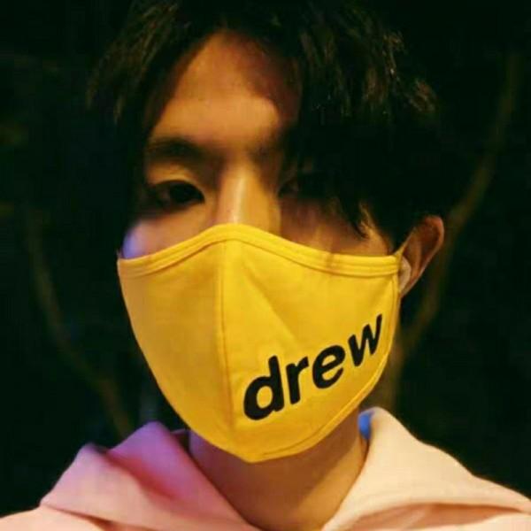 ハイブランドDREWマスク笑顔コットン洗えるマスクジャスティン・ビーバー男女同型マスク非医療イエローマスク花粉症ウイルス対策mask大人サイズ