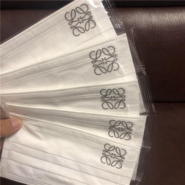 ロエベ三層 使い捨て不織布マスク個包装 大人サイズマスクブランドLoeweシンプル不織布マスク花粉症 飛沫 ウイルス対策マスク