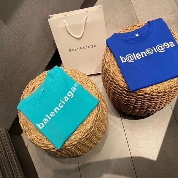 夏 新作バレンシアガブランド子供服ファッションコットン半袖tシャツ半ズボンスーツ男の子女の子Balenciagaキッズ2点セット