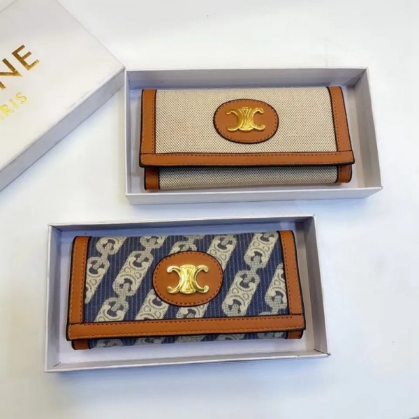 2021セリーヌブランド長財布ファッション学生風レディース三つ折り財布おしゃれ大容量カードケース二点セット手持ち財布