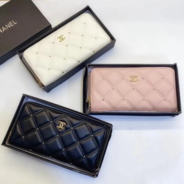 2021新品シャネル 財布レディース向けクラシック菱格レザーリベット長財布ブランドファッションファスナー型カード小銭 収納 財布