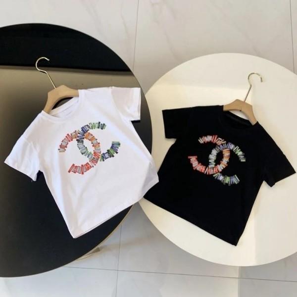 2021シャネル子供tシャツハイブランド男の子女の子コットン半袖tシャツ黒白 丸首 快適 夏キッズtシャツ個性ロゴファッション上着