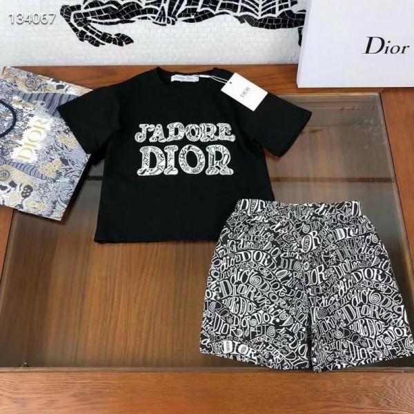 2021ディオール新品 子供服 ブランド 夏 半袖 tシャツ半ズボン上下セットコットン柔らかい 肌触りがよいキッズ tシャツ半ズボン