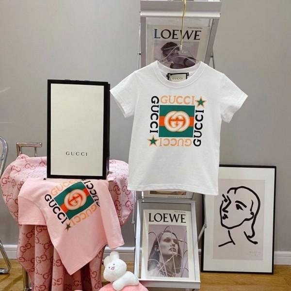 グッチキッズ半袖tシャツブランドファッションコットン丸首tシャツ子供Gucci定番プリント快適なtシャツ