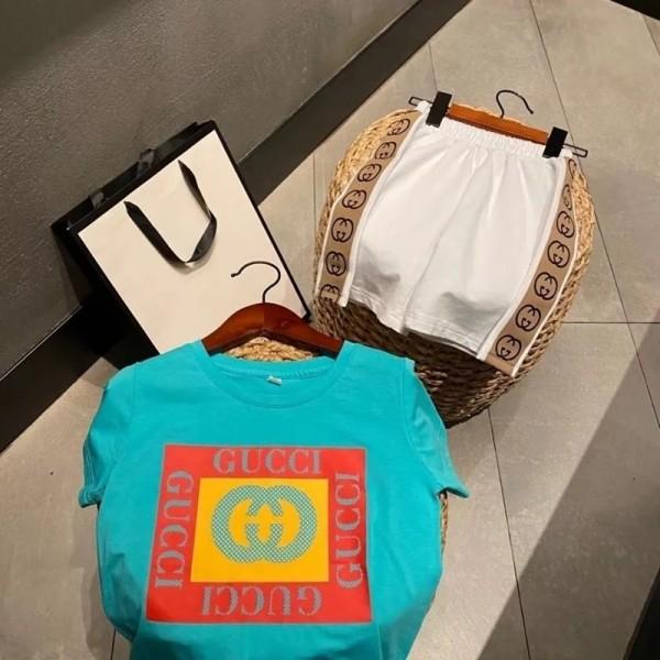 夏グッチキッズtシャツ半ズボン2点セットブランドGucciファッションブルー快適tシャツ柔らかいホワイト半ズボン男の子女の子 綿 夏服