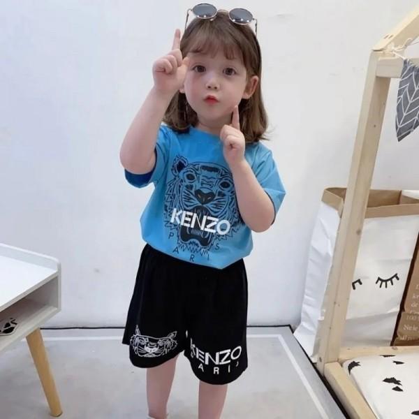 ケンゾーブランド子供tシャツズボンスーツかっこいい虎柄 半袖tシャツ半ズボンセットコットン快適 肌に優しい子供服 夏ジェンダーレス