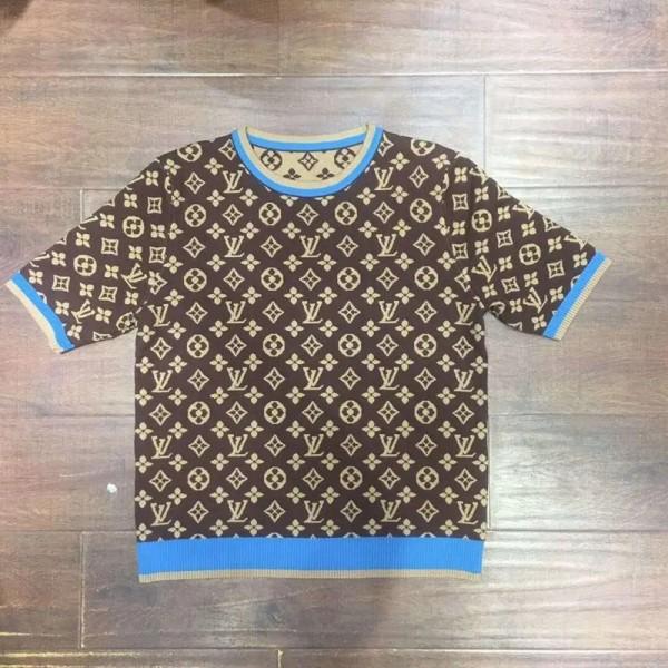 2020秋ルイヴィトンブランドニットtシャツファッション着瘦せクラシックジャカード生地半袖セーターレディース肌触りよい快適ニットトップス