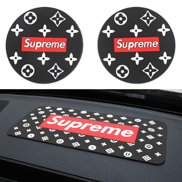 ファッションブランドシュプリームカー用品 柔らかい滑り止めマット丸型コースターセット車の丸いカップスロットソフトパッド