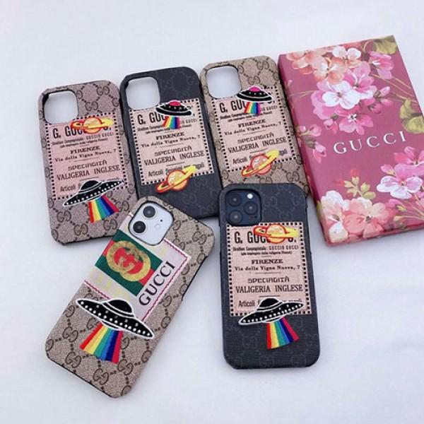 GUCCI/グッチメンズ iphone12/12mini/12pro/12pro maxケースステラ UFO柄 iphone 11/x/8/7スマホケース 安いジャケット型 2020 iphone12ケース 高級 人気アイフォン12カバー レディース バッグ型 ブランド
