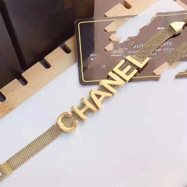 シャネルブランド ブレスレットファッション ゴールドカラー高品質 腕輪 軽量レディースチタン韓国風CHANEL アクセサリー美品アイテム