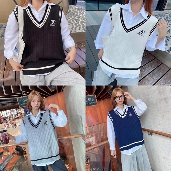 シャネルハイブランドホワイトシャツ高品質ゆったりVネックニットベストレディース秋ファッションセーター長袖シャツ2点セット