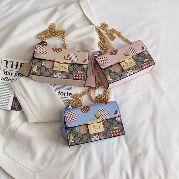 グッチブランドバッグカバンレディース かわいいりんご絵柄 斜め掛けカバン 小さめ 少女愛用 チェーンバッグ激安