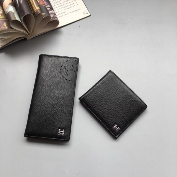 エルメスブランド財布 ファッション潮流ブラックレザー長財布 ウォレット高級感人気 短財布 小銭入れ カード入れ 二つ折 財布メンズ