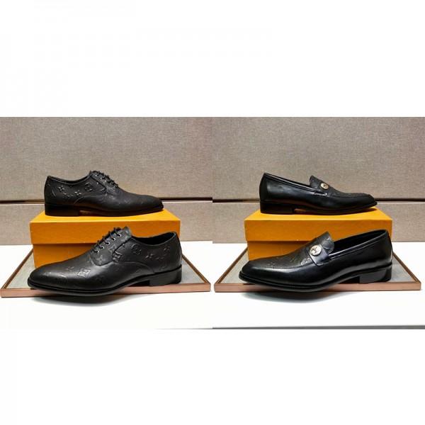 ルイヴィトンブランド革靴 ブラックビジネス 美脚シューズ 革靴 ブリティッシュスタイル ストレートチップ 紳士靴 歩きやすい 防水 防臭 防滑  冠婚葬祭 通勤