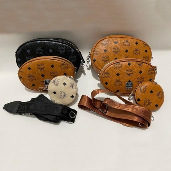 エムシーエム ブランドバッグ カバンファッション人気 三点セットミニバッグ 高品質 レザー 小さめ ポーチ 三点セットストラップ付き 斜め掛けカバン女