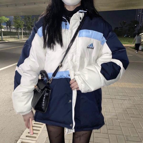 ブランドアディダスジャケット秋冬 中綿入り 厚手 あったか 防寒 中綿コート上着ファッションスポーツ風パッチワークカジュアル通勤 通学 着痩せ綿服トップス女