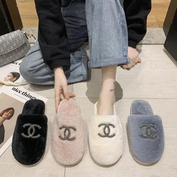 シャネル ブランドもこもこスリッパおしゃれ 滑り止め 室内履きシューズ秋冬 冷え対策 ふんわりスリッパカップルオススメ暖かい 家用靴