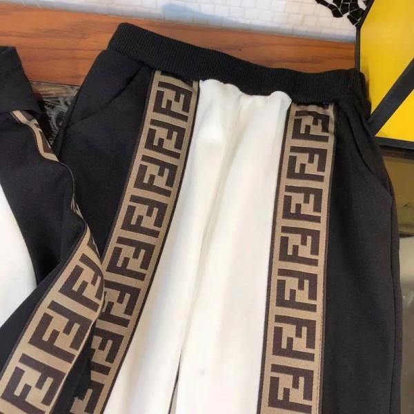 フェンディハイブランド子供服パーカーズボンスーツスポーツ風ゆったり長パンツFENDI 柔らかく肌に優しいスウェット上着シンプル高品質 キッズ秋服2点セット通販