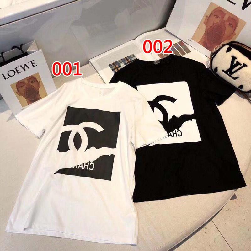シャネルTシャツ 単色 半袖 ロゴ オシャレ 若者 ブランド人気 通学 通勤