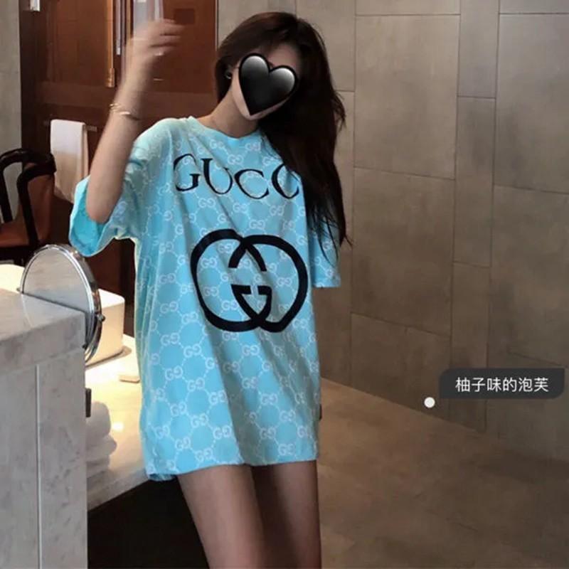Gucci定番プリントブル丸首トップス夏