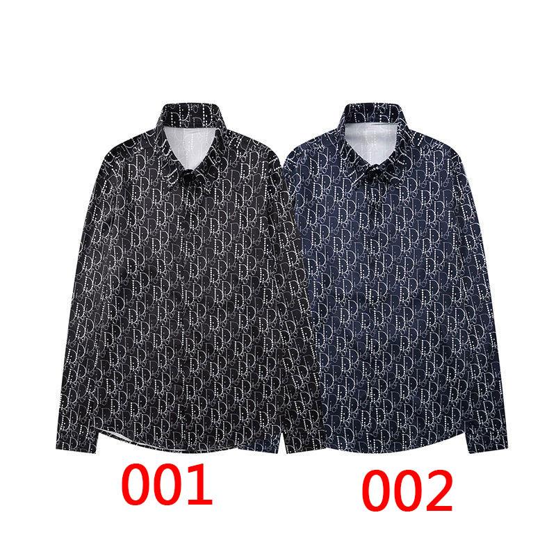 Dior柄プリントジャカードシャツカジュアル