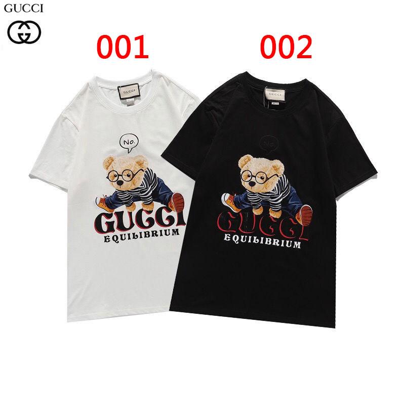 2021春夏グッチtシャツブランドゆったり黒白