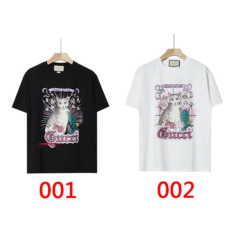 2021グッチブランドかわいい猫プリント半袖tシャツ